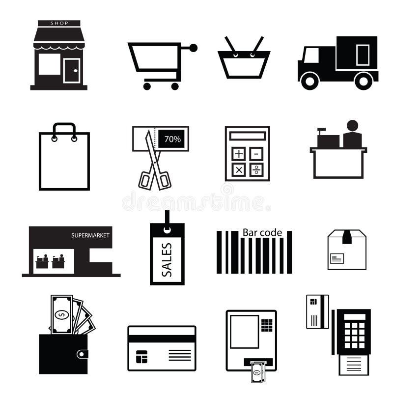 Zakupy i sprzedaży ikony ilustracji