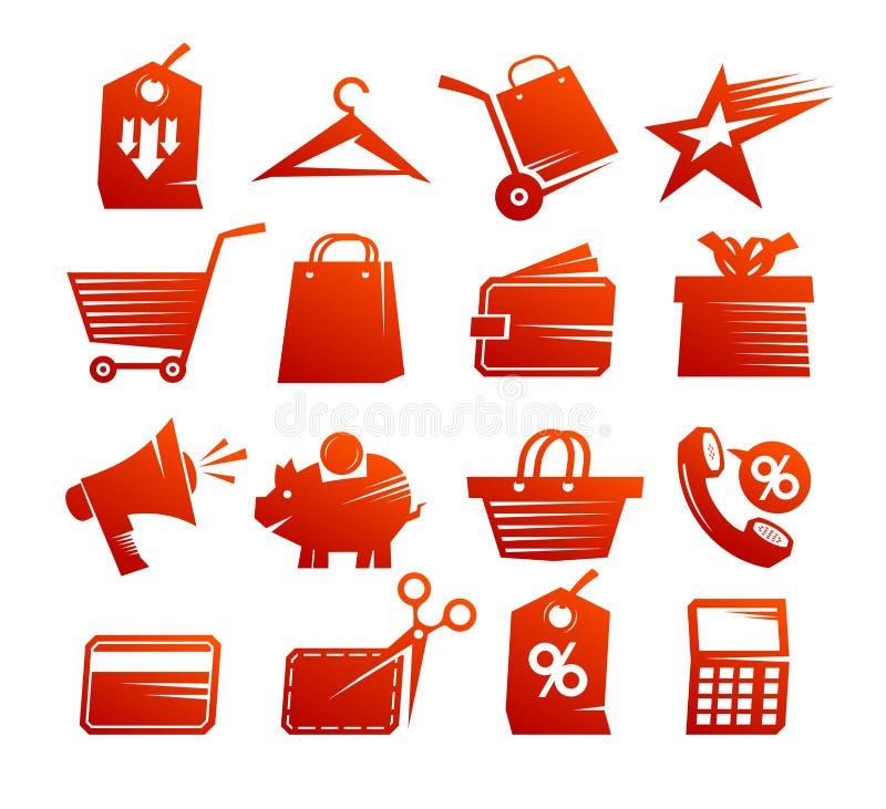 Zakupy ikon wektoru set, czerwoni sprzedaż symbole inkasowi ilustracji