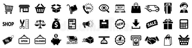 Zakupy ikony, setu sklepu znak dla sieć rozwoju apps i strony internetowe, - wektor ilustracji