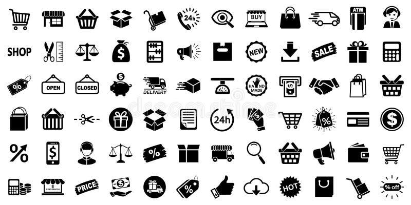 Zakupy ikony, setu sklepu znak dla sieć rozwoju apps i strony internetowe, - wektor royalty ilustracja