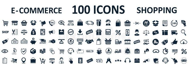 Zakupy ikony 100, setu sklepu znaka handel elektroniczny dla sieć rozwoju apps i strony internetowe, - wektor royalty ilustracja