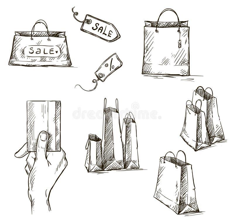 Zakupy ikony, sprzedaży etykietka, papierowe torby, ręka z cr ilustracji