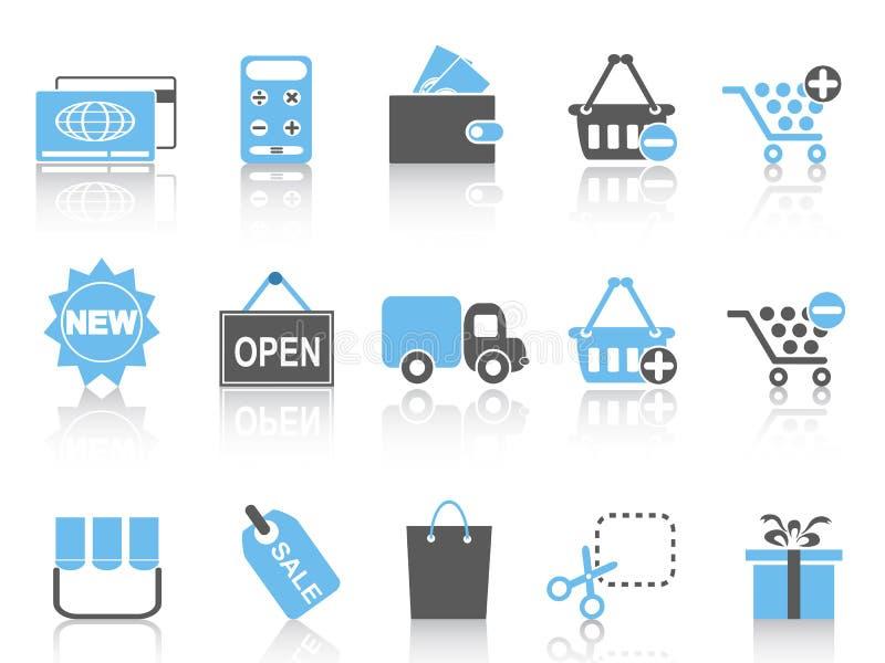 Zakupy ikony ustawiać, błękitne serie ilustracji