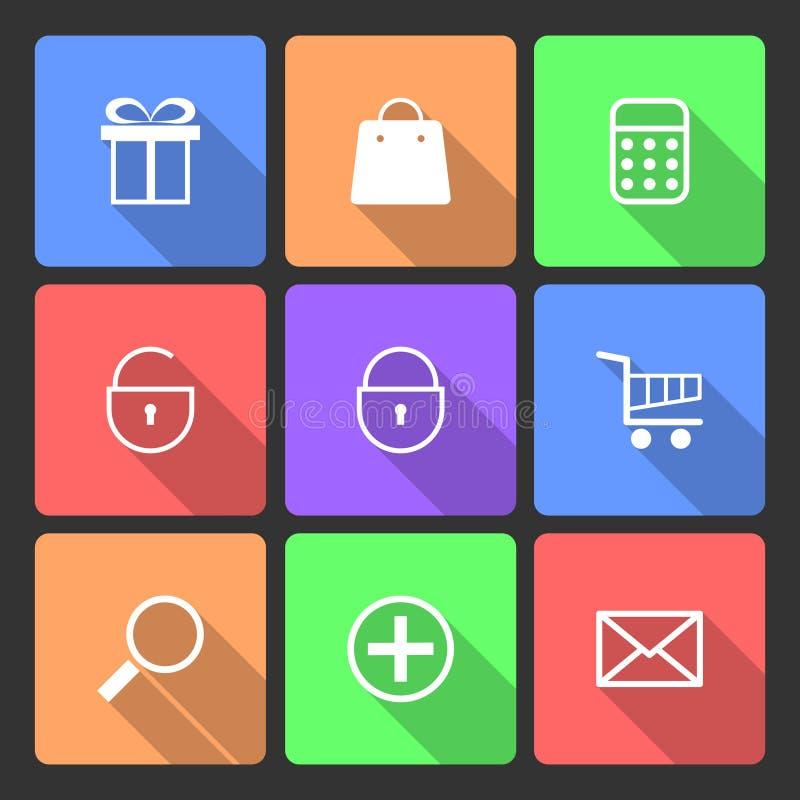 Zakupy ikony ustawiać z Długim cieniem ilustracji