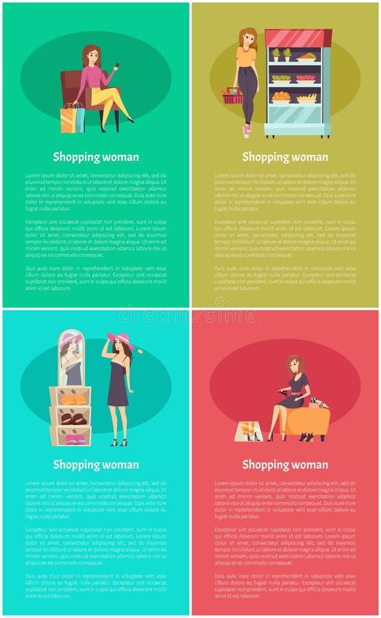 Zakupy kobieta Relaksuje na karło Ustalonym wektorze ilustracji