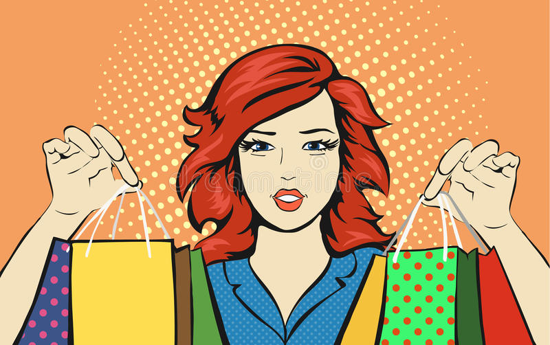 Zakupy kobieta z sprzedaży torbą pomija wystrzał sztukę ilustracji