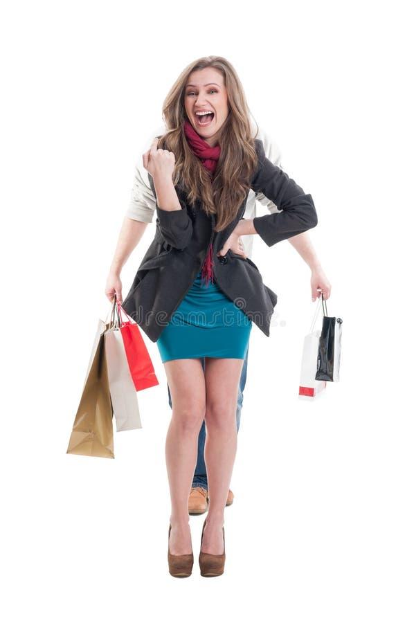 Zakupy kobiety śmiać się zdjęcia stock