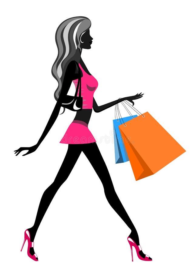 Zakupy Kobiety Odprowadzenie ilustracja wektor