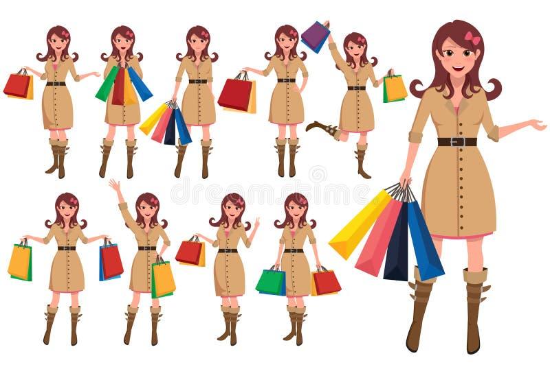Zakupy kobiety postać z kreskówki - set Dziewczyna wektorowi charaktery trzyma torby na zakupy ilustracja wektor