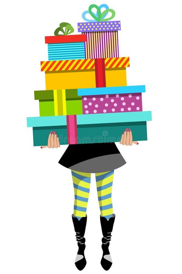 Zakupy kobiety przewożenia sterty prezenta prezenty Odizolowywający royalty ilustracja