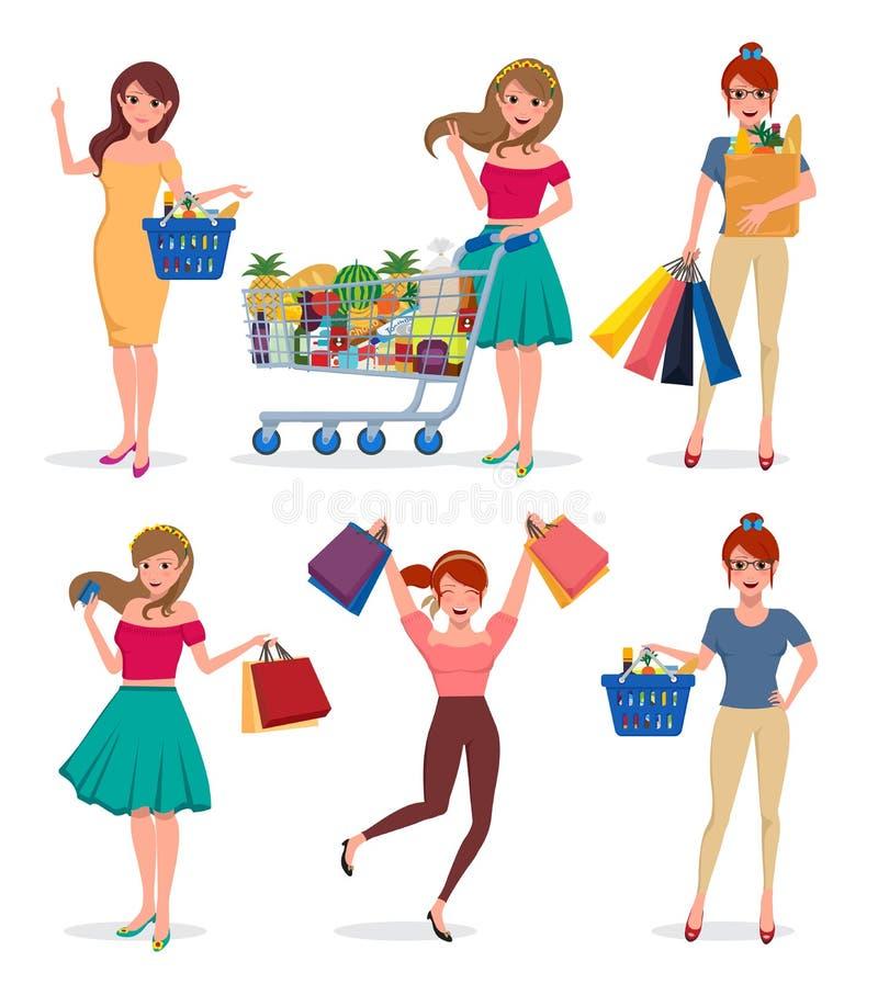Zakupy kobiety wektorowi charaktery ustawiający Żeńscy kupującego mienia torba na zakupy ilustracja wektor