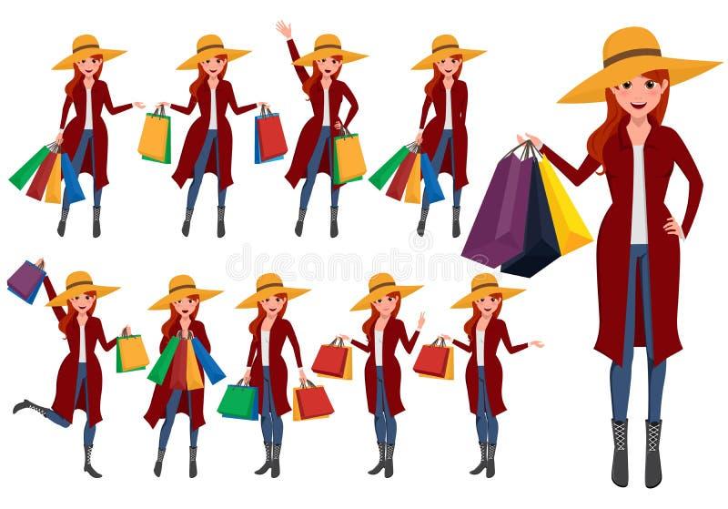 Zakupy kobiety wektorowi charaktery ustawiający Dziewczyna kupującego postać z kreskówki royalty ilustracja