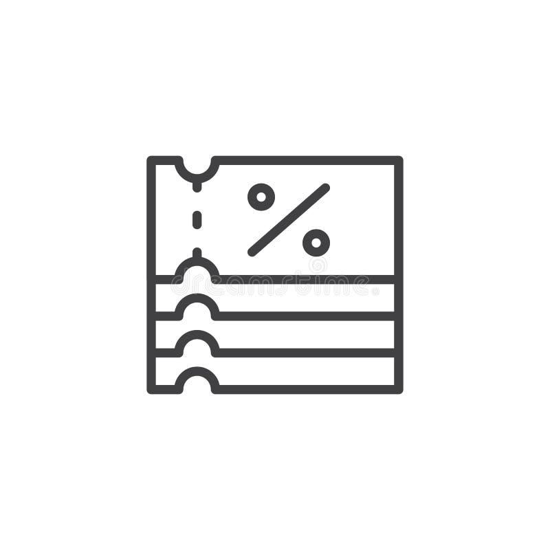 Zakupy konturu Talonowa ikona ilustracja wektor