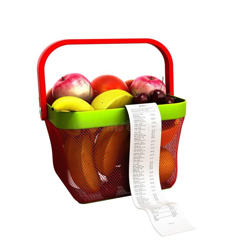 Zakupy kosz świeża owoc z czekiem 3d pełno odpłaca się nie sh royalty ilustracja
