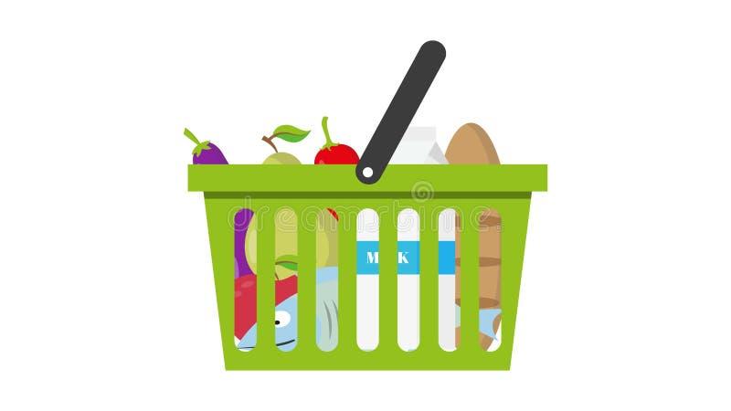Zakupy kosz pełno zdrowy organicznie świeży i naturalny jedzenie Płaska wektorowa ikona ilustracji