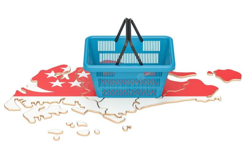 Zakupy kosz targowy kosz lub nabywać po na Singapur mapie, ilustracja wektor