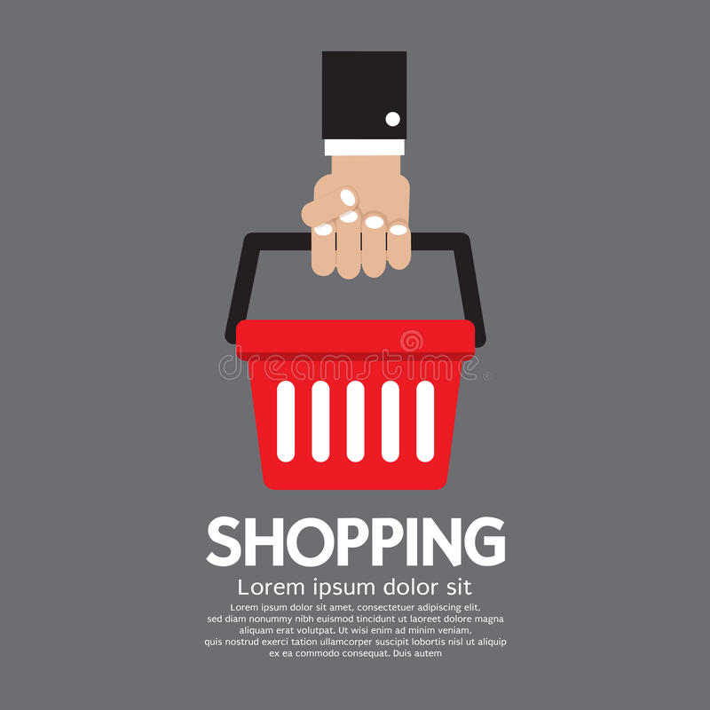Zakupy kosz w ręce ilustracja wektor