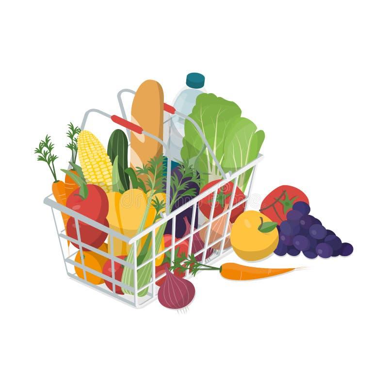 Zakupy kosz z świeżymi warzywami royalty ilustracja