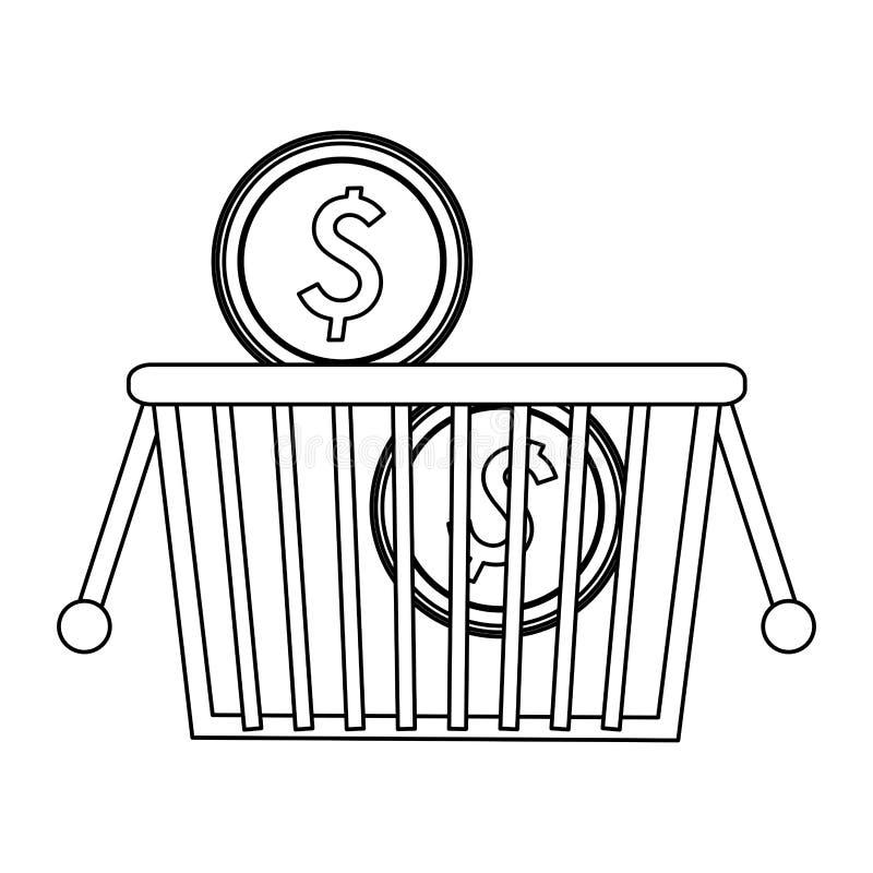 Zakupy kosz z monetami czarny i biały ilustracji