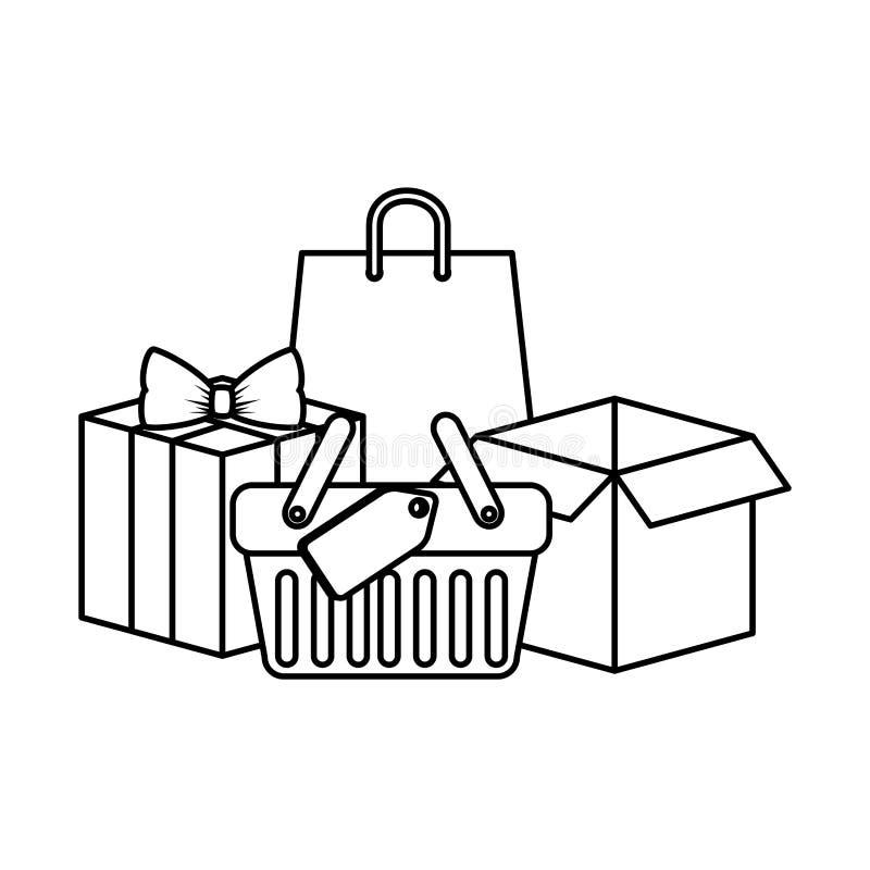 Zakupy kosz z prezentami i torbami ilustracja wektor