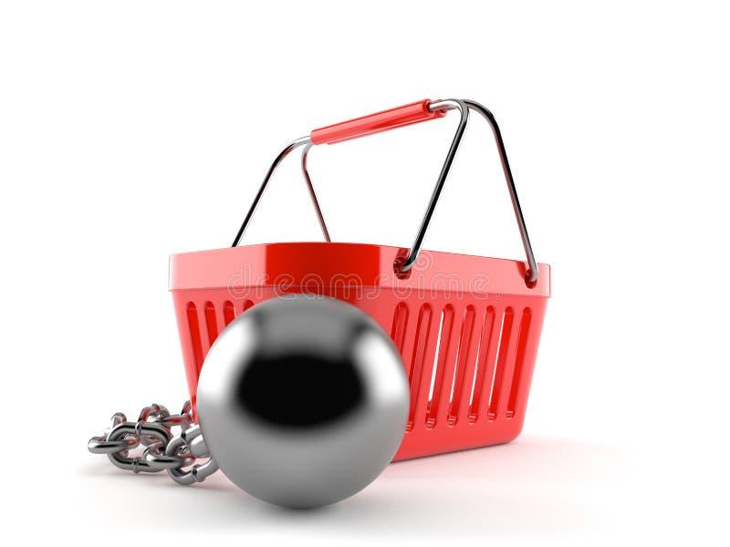 Zakupy kosz z więźniarską piłką royalty ilustracja