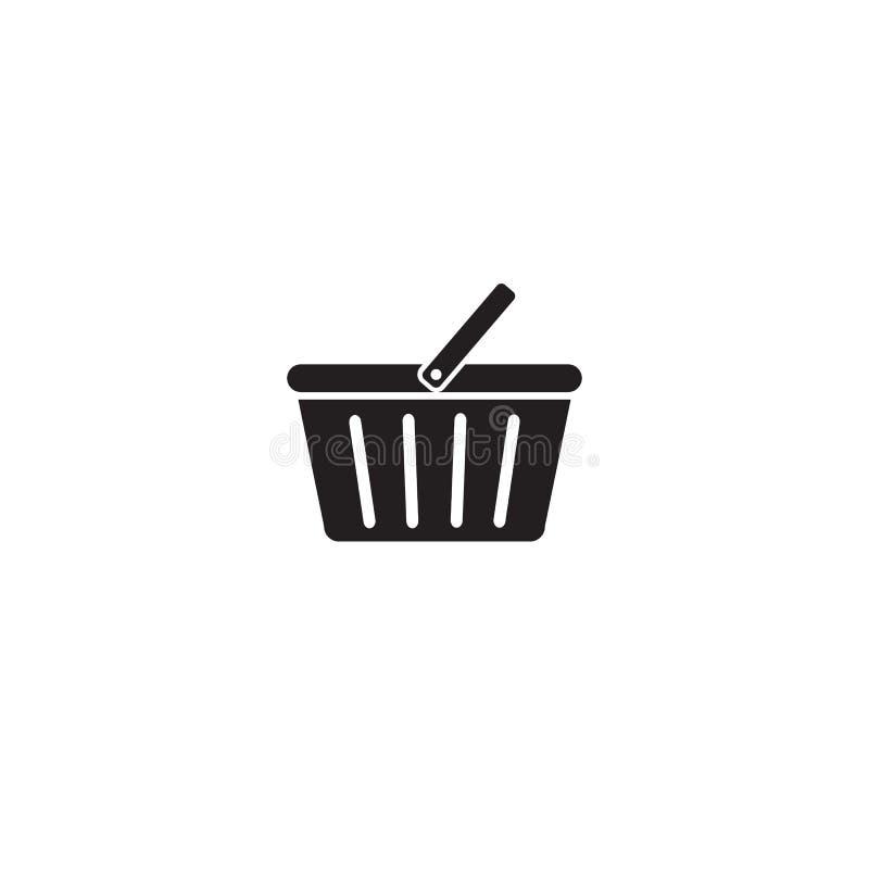 Zakupy kosza ikony mieszkania znaka symboli/lów logo wektorowa ilustracja odizolowywająca na białym tła czerni kolorze poj?cia ilustracja wektor
