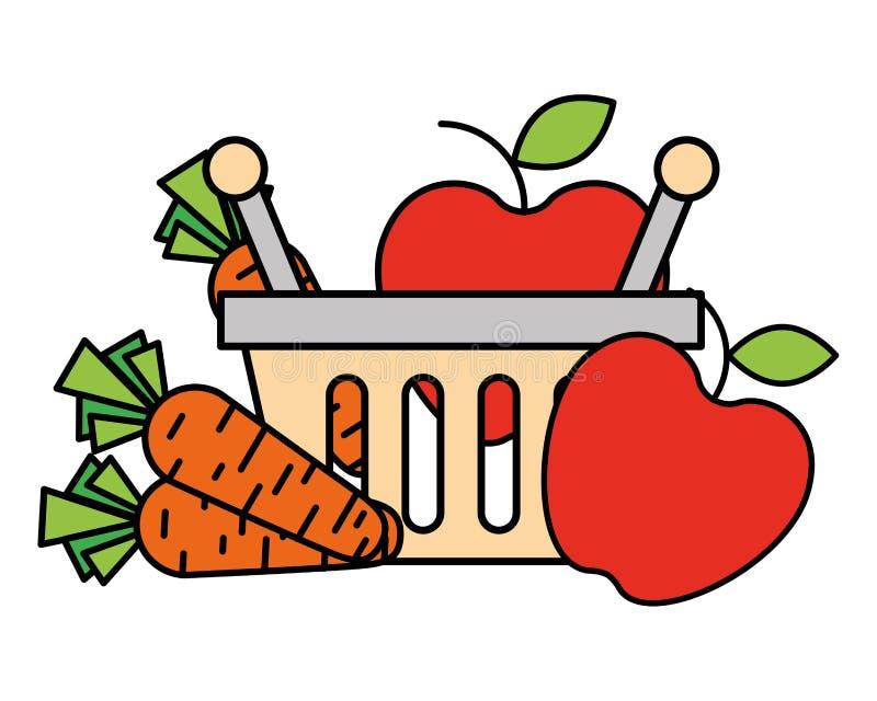 Zakupy kosza marchewek i jabłek supermarket ilustracja wektor