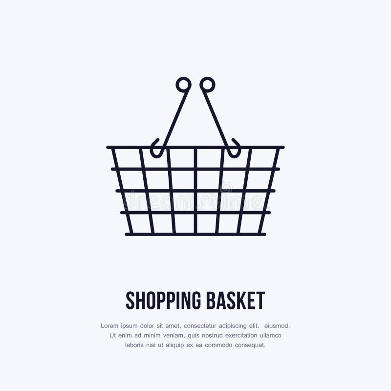 Zakupy kosza mieszkania linii wektorowe ikony Sklep detaliczny dostawy, handlu sklep, supermarketa wyposażenia znak reklama royalty ilustracja