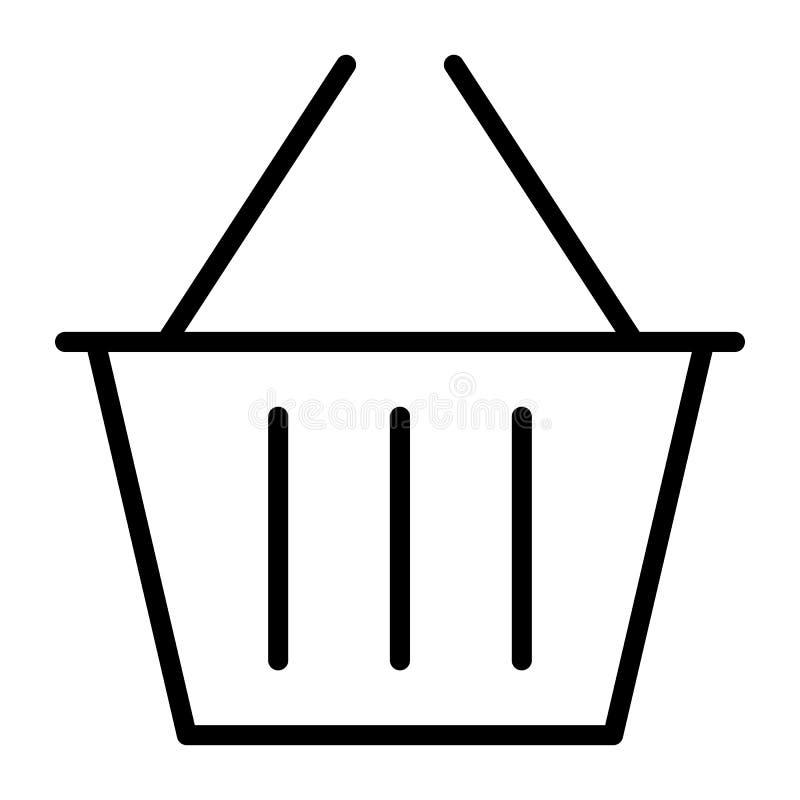 Zakupy kosza piksla Perfect wektoru Cienka Kreskowa ikona 48x48 Prosty Minimalny piktogram ilustracji