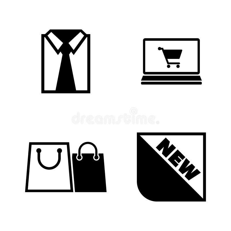 Zakupy, kupienie Odziewa Proste Powiązane Wektorowe ikony ilustracja wektor