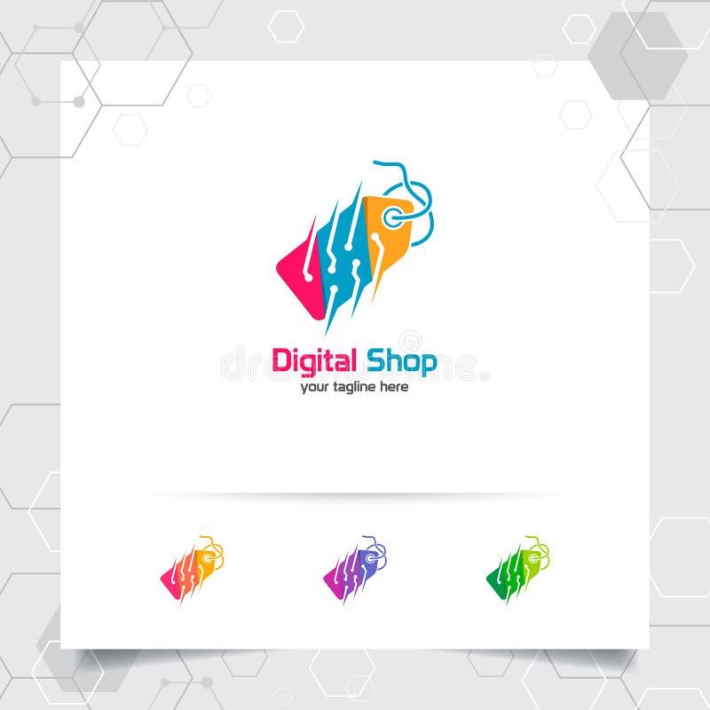 Zakupy logo projekta wektorowy pojęcie metki ikona i technologia cyfrowa symbol dla online sklepu, rynek, handel elektroniczny, i ilustracji