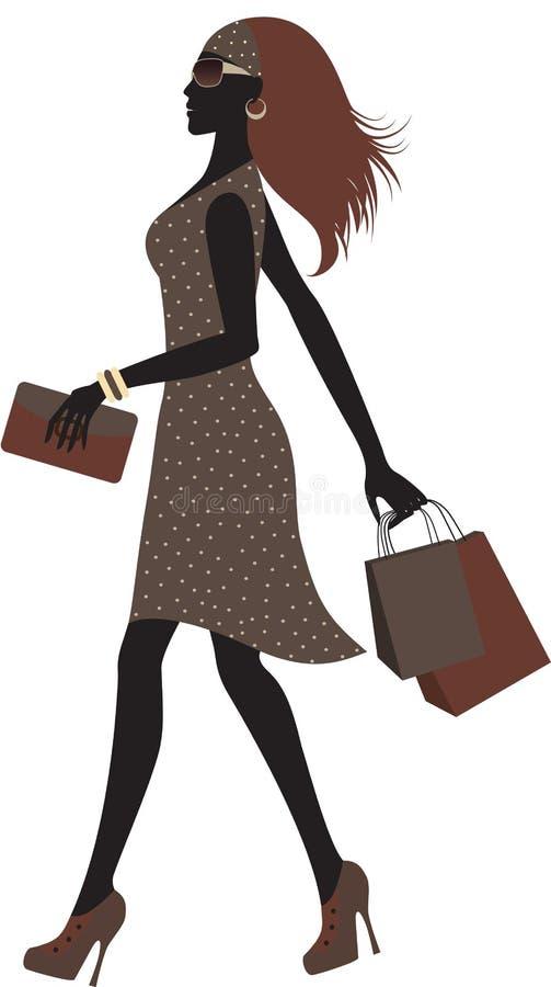 zakupy modna kobieta ilustracji