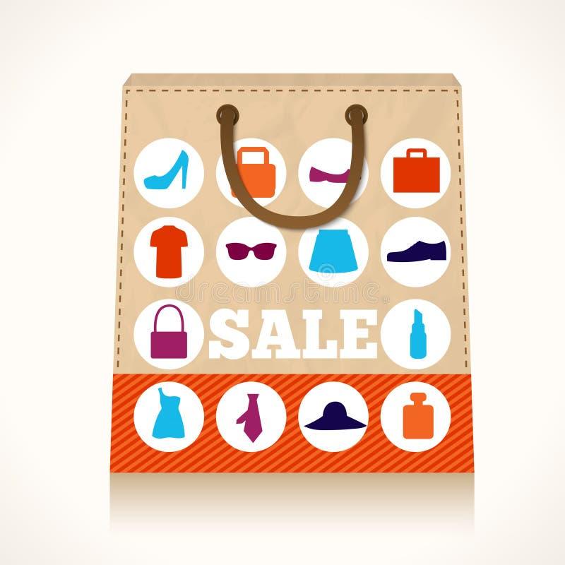 Zakupy odzieży torby projekt royalty ilustracja