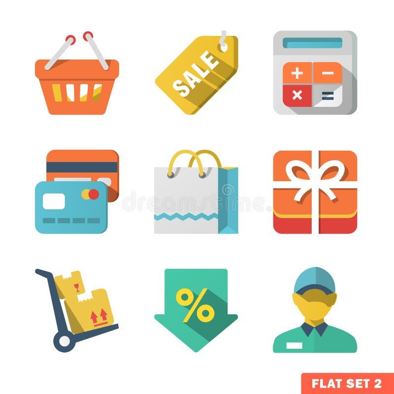 Zakupy Płaska ikona ustawiająca dla sieci Applicat i wiszącej ozdoby ilustracja wektor