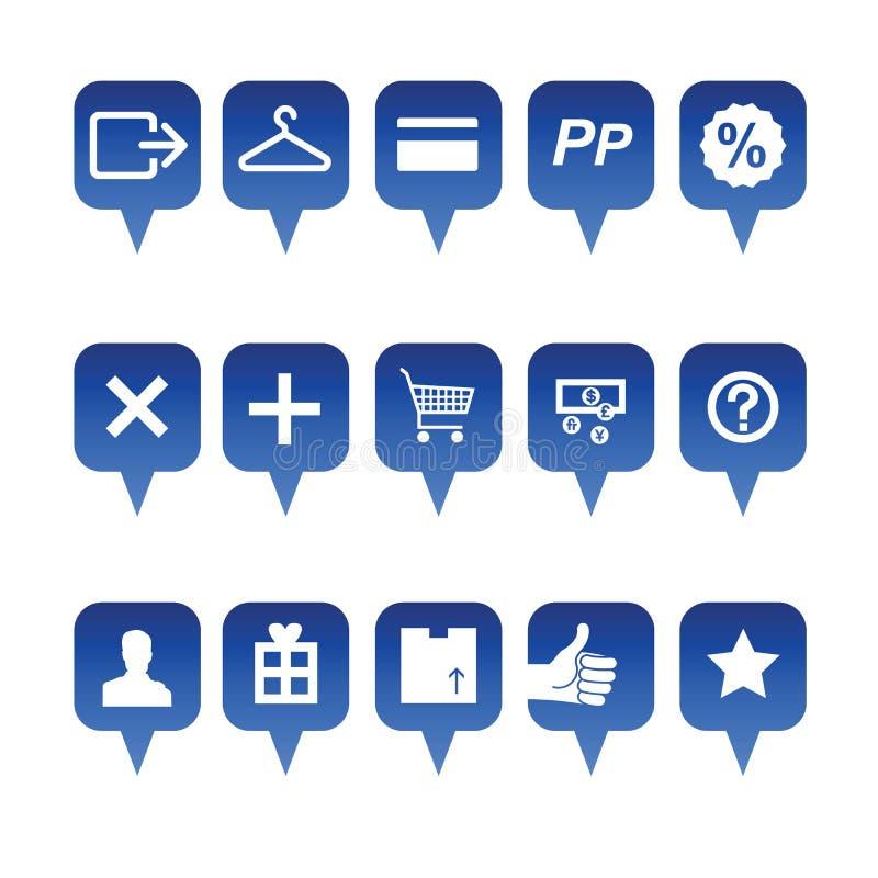 Zakupy sieci ikony ilustracji