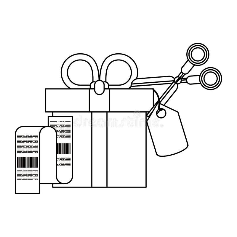 Zakupy sprzedaże i marketingowi symbole w czarny i biały ilustracji