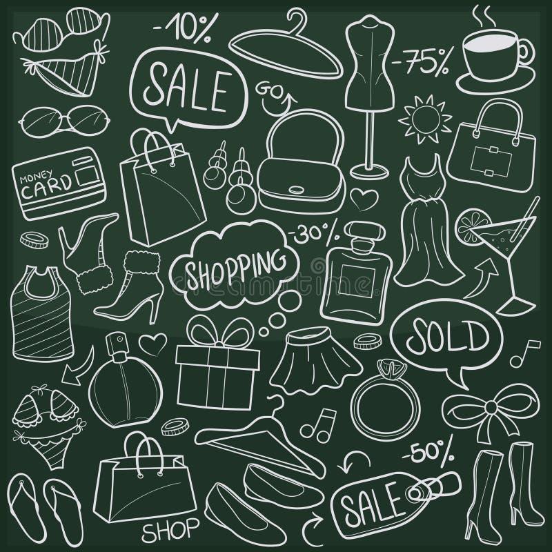Zakupy sprzedaży DayTraditional Doodle Bezpłatne ikony Kreślą Ręcznie Robiony projekta wektor ilustracja wektor