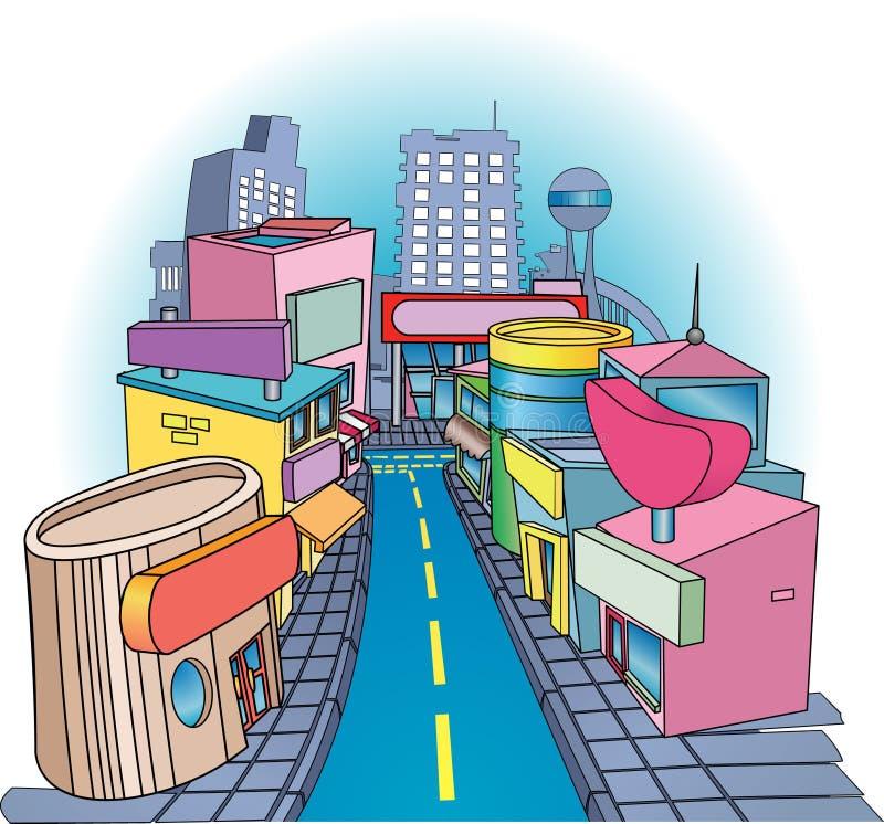 zakupy street ilustracji