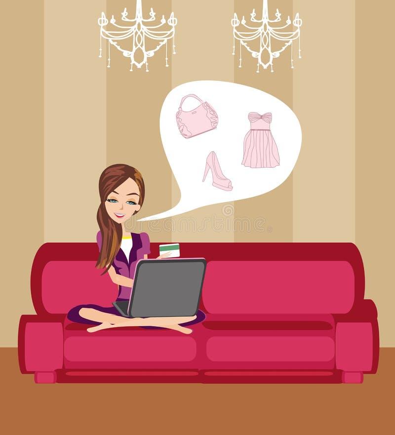 zakupy szczęśliwa online kobieta ilustracji