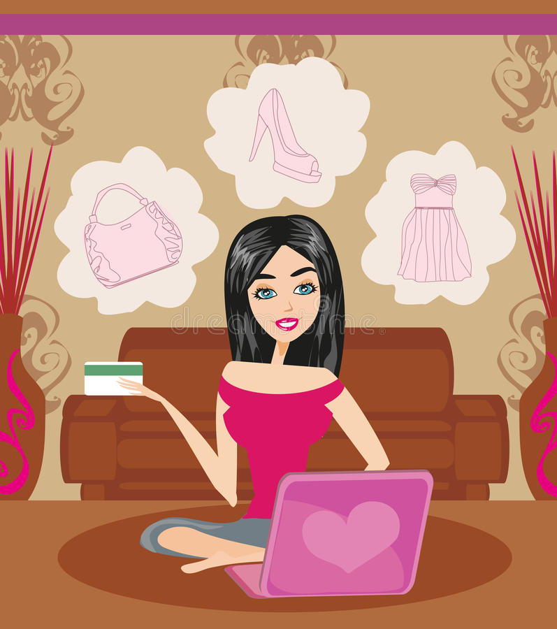 zakupy szczęśliwa online kobieta internet backgraund laptopa na zakupach white ilustracja wektor