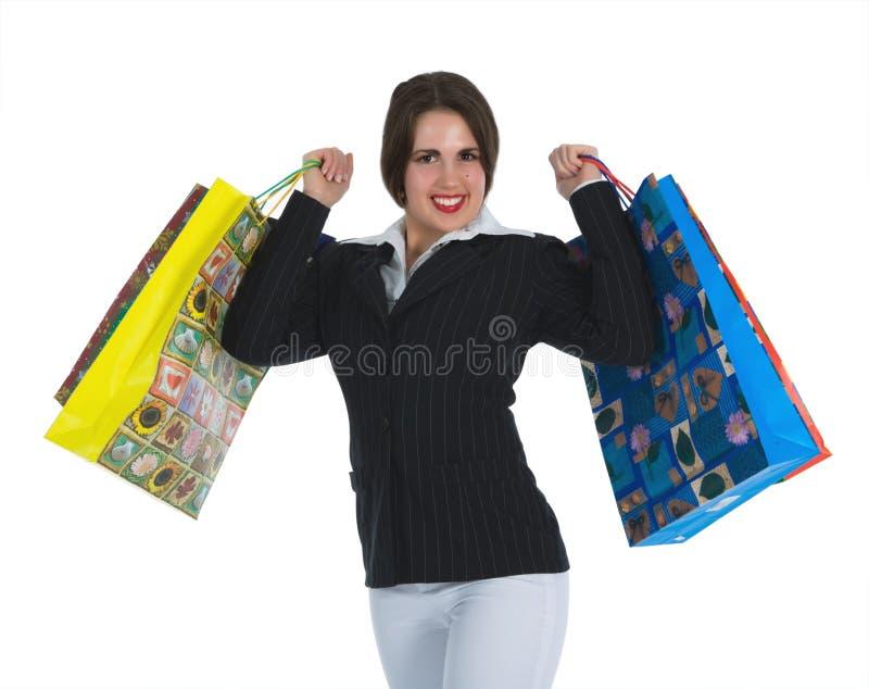 zakupy tła biała kobieta zdjęcie stock