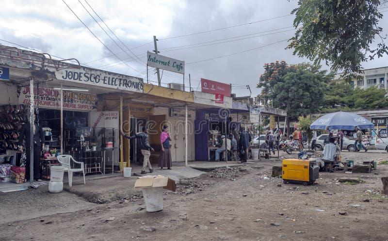 Zakupy ulica w Arusha obrazy royalty free