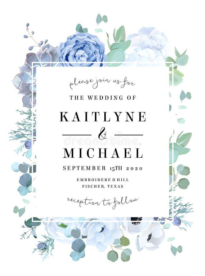 Zakurzona błękit róża, echeveria sukulent, biała hortensja, ranunculu ilustracji