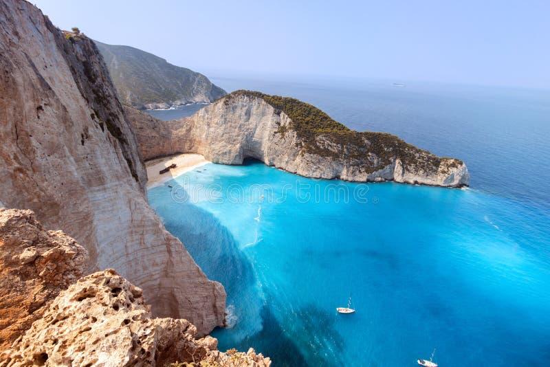 Zakynthos, Grecka wyspa, Navagio podpalany Zante zdjęcie stock