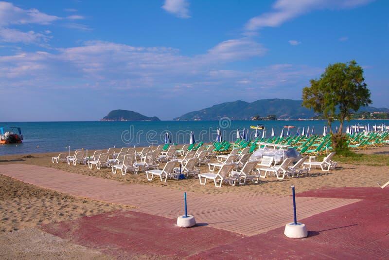 Zakynthos, Greece - Marathonisi view form Laganas Beach stock images