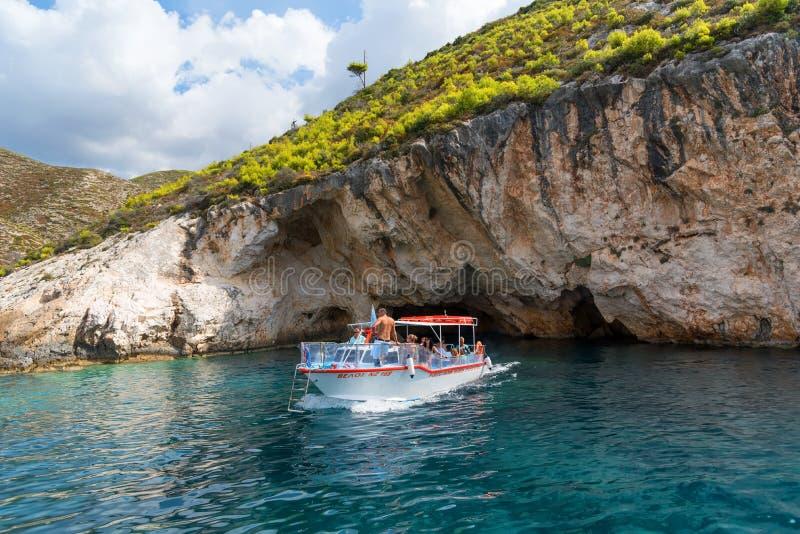 Zakynthos, Griekenland - September 27, 2017: Porto Vromi op Zakinthos-Eiland Gezichten van het Zakinthos-Eiland Beste stranden in stock foto's