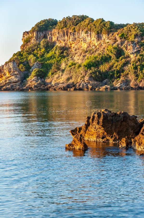 Zakynthos Island, Greece. A pearl of the Mediterranean with beaches and coasts suitable for unforgettable sea holidays. Agios Nikolaos Beach at sunrise stock photo