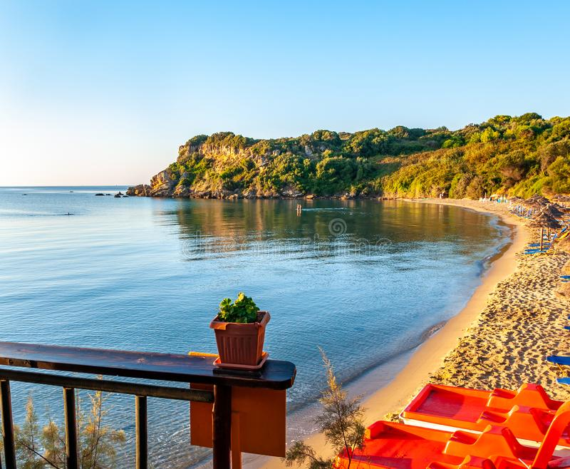 Zakynthos Island, Greece. A pearl of the Mediterranean with beaches and coasts suitable for unforgettable sea holidays. Agios Nikolaos Beach at sunrise royalty free stock image