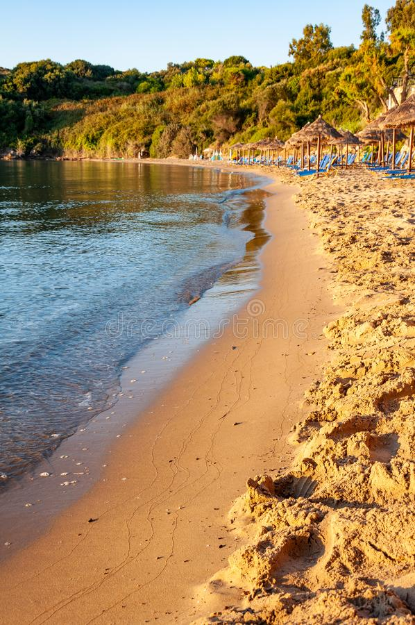 Zakynthos Island, Greece. A pearl of the Mediterranean with beaches and coasts suitable for unforgettable sea holidays. Agios Nikolaos Beach at sunrise stock image