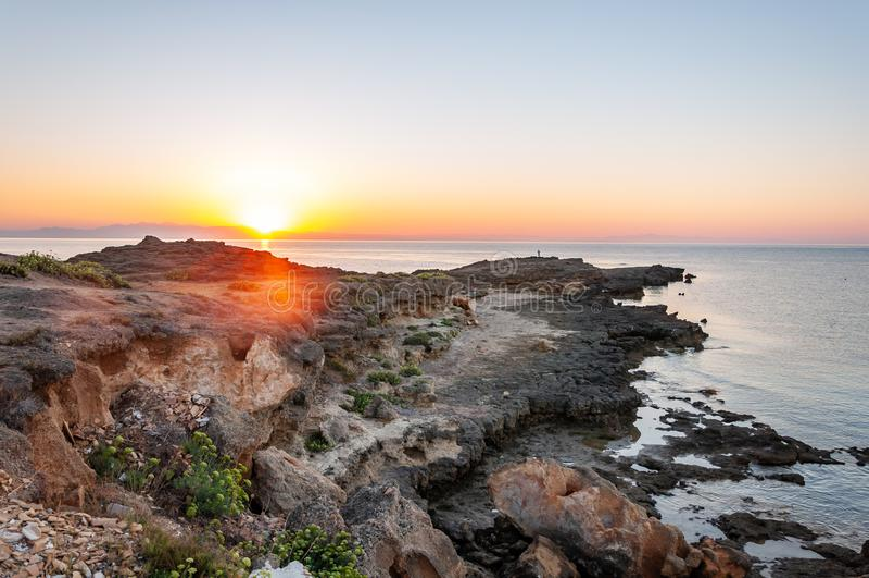 Zakynthos Island, Greece. A pearl of the Mediterranean with beaches and coasts suitable for unforgettable sea holidays. Agios Nikolaos Beach at sunrise stock photos